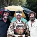 "Jerry London, Toshiro Mifune and Eric Bercovici on set of ""Shogun"""